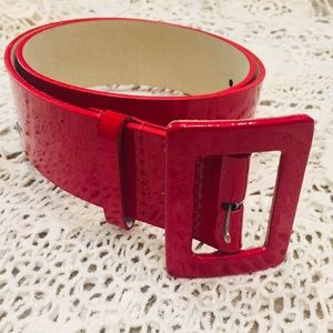 NINE WEST leather patent belt Red Sz SMALL